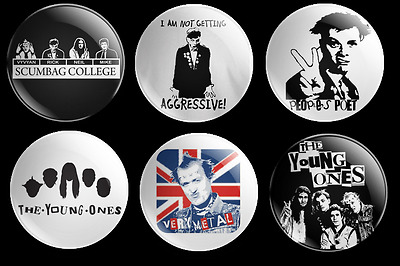 The Young Ones 6 Badge Set Rick Vyvyan Neil Mike Tv Comedy Memorabilia