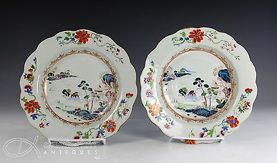 Nice Pair Of Antique Chinese Porcelain Plates W Scalloped Edge