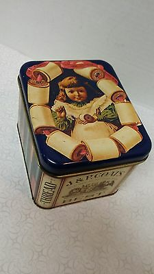 Vintage JP Coates Collectible Sewing Tin, Very Rare, Beautiful Condition!!!