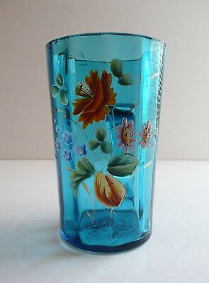 Antique Victorian Handled Blue Glass Cup Mug Hand Painted Flowers with Gold Trim
