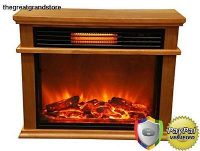 Large Deluxe Electric Infrared Fireplace Space Heater Mantle Remote Wood Oak Fan