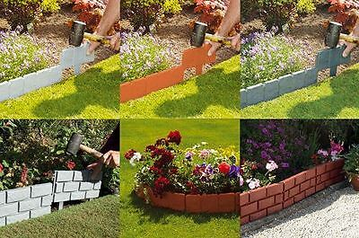 New Stone Brick Cobbled Effect Plastic Garden Edging Plant Borders Lawn