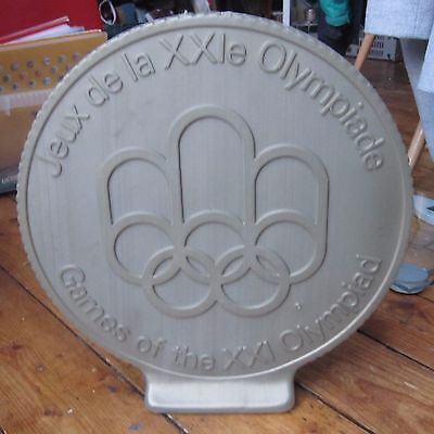 Montreal Olympics Olympic Games 1976 Large Plastic Display Sign Coin Medal Shape