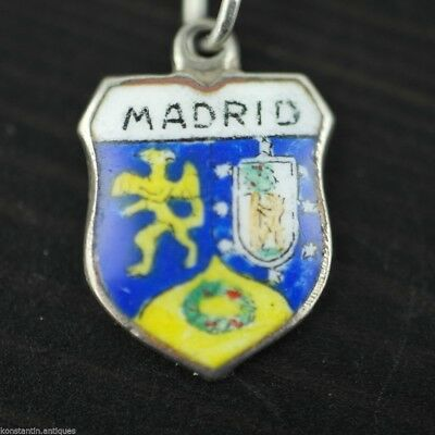 Vintage enamel solid silver charm pendant MADRID rare SPAIN 800 nice gift
