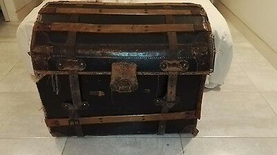Antique Dome Top Leather Wooden Bound Travelling Trunk - C1900 (Chest)