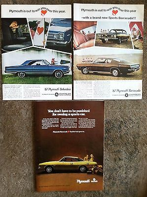 1967 Vintage Plymouth Barracuda Ads + Cuda + Belvedere - The Beat Goes On