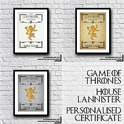 Game Of Thrones - GoT - House Lannister Personalised Certificate - Personal Gift
