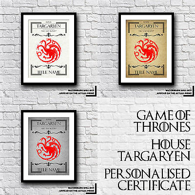 Game Of Thrones - GoT - House Targaryen Personalised Certificate - Personal Gift