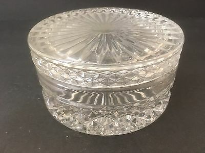 Vintage Round Grooved Glass Decorative Candy Nut Bowl Container With Lid