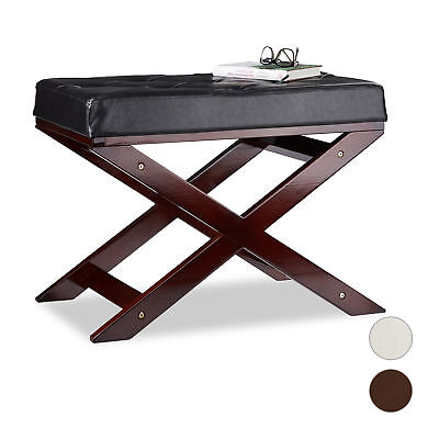 Wooden Bench with Padding, Faux Leather, Backless, Wood, 1-Seater, Indoor Seat