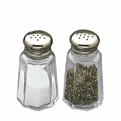 TableCraft Glass w/ Stainless Steel Top Paneled Salt and Pepper Shaker 1 oz |
