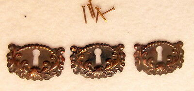 Set of 3 Antiqued Brass Keyhole Covers