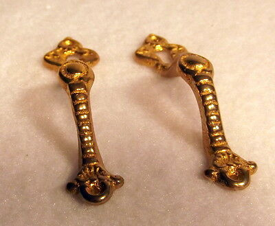 Pair of Solid Brass Fancy  Door Handles with Keyhole