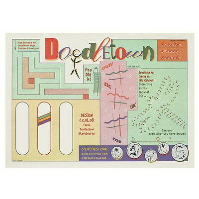 """Hoffmaster 2-Sided Print Doodle Town Activity Placemat 10"""" L x 14"""" W 