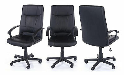 Swivel Black Star Base Office/President Chair with Padded Faux Leather Seat