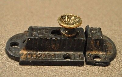 Antique Cabinet Cupboard  Latch & Keeper  Hardware Eastlake Brass Knob