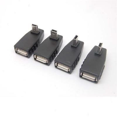 Black Right Angle Mini USB Male to USB Female Adapter Connector Hubs