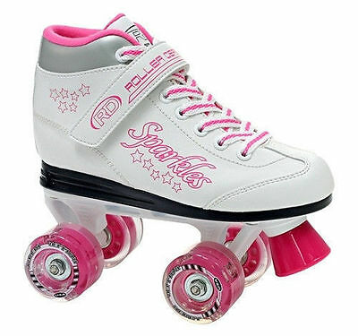 Roller Derby Skates RDS Sparkle White Pink Light Up Wheel Roller Skate Junior