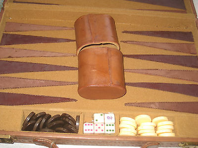 Vintage New Old Stock Leather Backgammon Set / Leather Dice Cups - Made Mexico