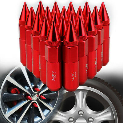 20Pcs Red M12X1.5 Cnc 60Mm Aluminum Extended Tuner Lug Nuts Cap Spiked Wheel Rim