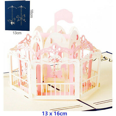 Carousel 3D Pop Up Greeting Cards Carousel Lover Happy Birthday Gift Card -Pink