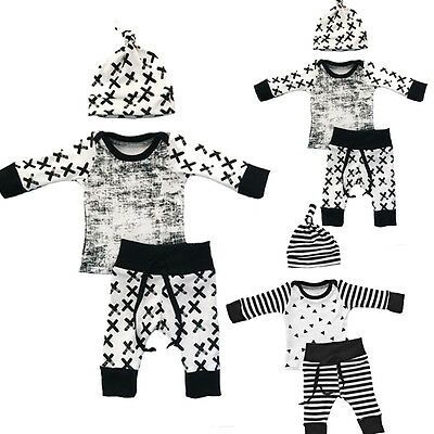 AU Newborn Kids Toddler Baby Boy Girl T-shirt Tops+Pants Hat Outfit Set Clothes