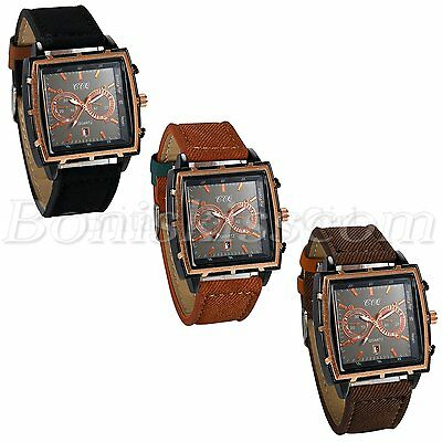 Men's Casual Retro Square Dial Leather Strap Date Quartz Decoration Wrist Watch