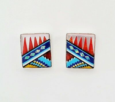 Alluring Turquoise Multicolor Opal Lapiz Spiny Inlay 925 Silver Stud Earrings