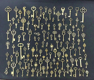 125x Antique Vintage Old Look Bronze Skeleton Keys Fancy Heart Bow Pendant Decor