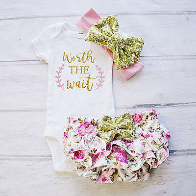 AU Stock Newborn Baby Girl Toddler Romper Bodysuit +Lace Floral Pants Outfit Set