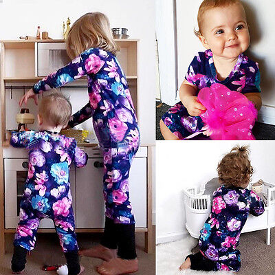 AU STock Cute Baby Girls Toddler Floral Romper Jumpsuit Bodysuit Clothes Outfits