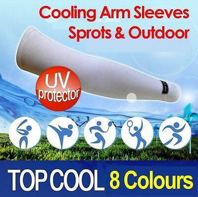 Cooling Warmer Sports Arm Stretch Sleeves Sun Block UV Protection Covers 1 Pair