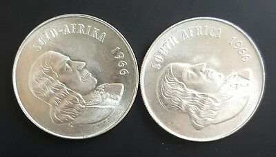 1966 South Africa.  Silver Rand Coin x 2..  Afrikaans/English..  UNCIRCULATED...