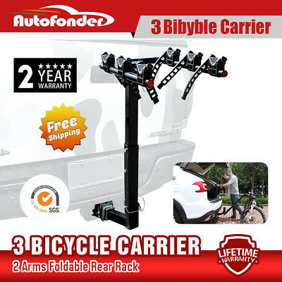 "IKURAM 3 Bicycle Bike Car Carrier Rear Rack 2"" Steel Foldable Hitch Mount Towbar"