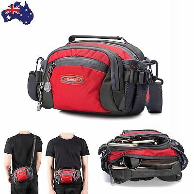 Waterproof Waist Bum Bag Travel Running Belt Fanny Pack Sport Shoulder Pouch Red