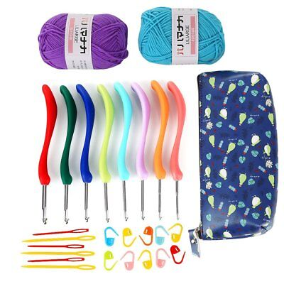 8Pcs Set Needles Candy Color Handles Knit Weave Crochet Hooks Case+2 Skeins Yarn