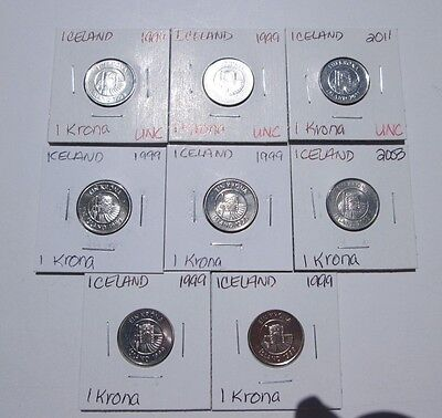 ICELAND   8 coins,  1 Krona coins,  1999-2013,  uncirculated,  carded