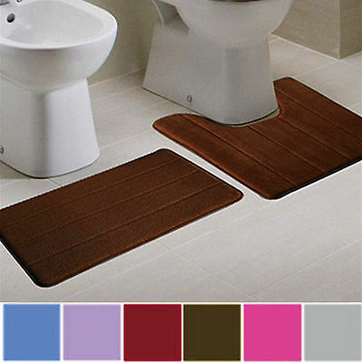 1Set Bathroom Memory Foam Mat Toilet Non-slip Bathroom Rug Contour Pads 2 in 1