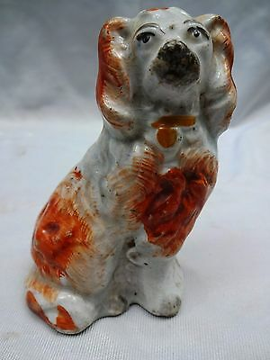 Staffordshire Red & White Spaniel Dog Vintage Porcelain Figurine Genuine Old #