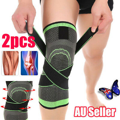 2x 3D Weaving Knee Brace Breathable Sleeve Support for Running Jogging Sports BO