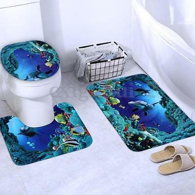 3 Piece Bathroom Rug Mat Set Memory Foam and Contour Rug Sets with Lid Cover