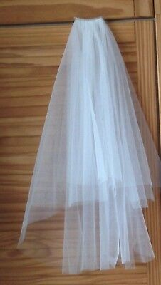 2 layers short simple wedding veils white/off white with comb