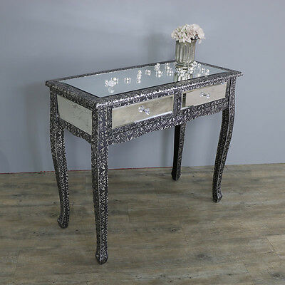 Silver Black Mirrored Dressing Console Table Embossed French Vintage Bedroom