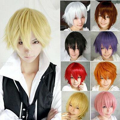 Multi Color Men Boy Short Straight Hair Wig Anime Party Cosplay Full Wigs hot UK