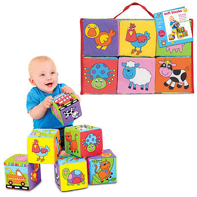 Galt Toys Baby Soft Blocks Activity Foam Cubes Build For Squeezing And Throwing