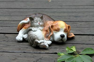 Sleep Cat DOG Hand Painted Resin Figurine Statue Suit  Pet Lovers Gift