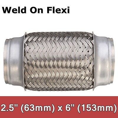 2.5'' x 6'' 63x153mm Exhaust Flex Tube Pipe Joint Flexible Clamp Stainless Steel