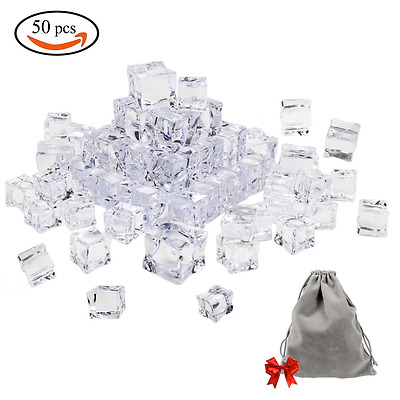 50 Pieces Clear Fake Acrylic Ice Cubes Square Shape For Photography Props New