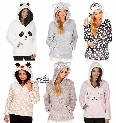 Ladies Novelty Hooded Animal Snuggle Fleece Bed Jacket Lounge Top Hoodie Jumper