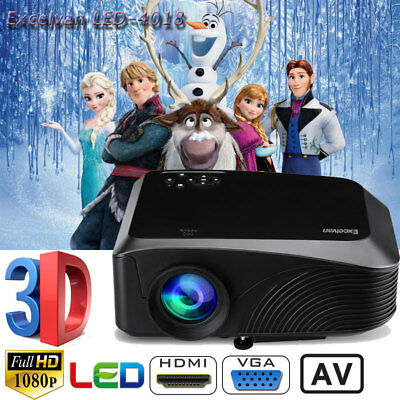 Excelvan Portable 1200Lumen 1080P 3D LED Video Projector HDMI USB VGA AV TF UK